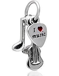 SoulBeads I Love Music Charm With Red Enamel Heart 925 Sterling Silver Bead For European Brand Bracelet