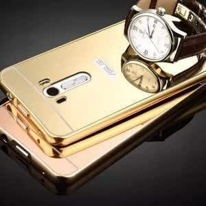 IDEAL Luxury Metal Bumper + Acrylic Mirror Back Cover Case For ASUS ZENFONE MAX GOLD PLATED