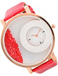 RTimes Leather Strap Analogue Womens Round Dial Watch With Moving Beads (Red)