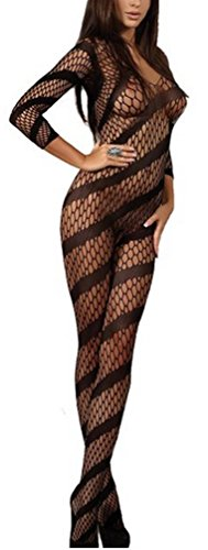 Sexy Stripe Fishnet Open Crotch All Cover Body Stocking