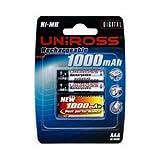 Uniross NiMH Accu AAA 1000mAh Blister 4 pcs, Rechargeablepar Uniross Batterie