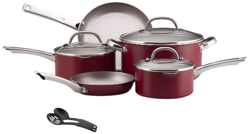 Farberware Premium Aluminum Nonstick 10 Piece Cookware Set With Stainless Handles Red