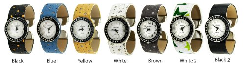 Geneva Women'S Colored Star Band Cuff Watch-Black