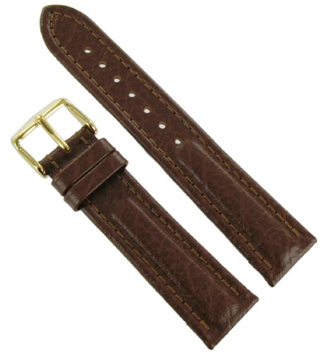 20mm Speidel Mountain Hide Genuine Leather Padded Stitched Brown Watch Band Strap Regular