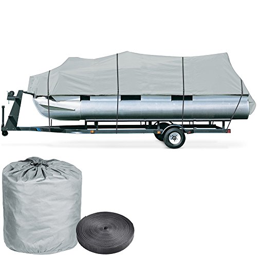 600D Trailerable Pontoon 17 18 19' UV Water Resistant Boat Cover w/ Oxford Bag Gray