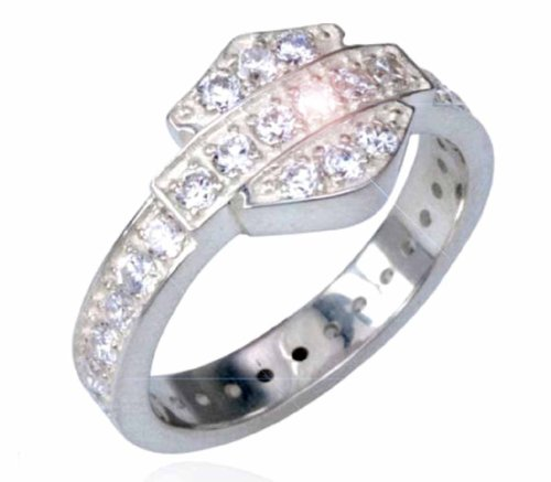 Harley-Davidson® MOD® Women's Sterling Silver Cubic Zirconia Bling Bar & Shield Ring. HDR0159