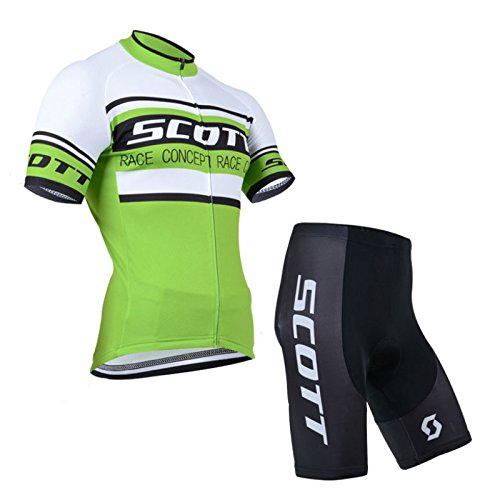 2014 Outdoor Sports Pro Team Men's Short Sleeve Scott Cycling Jersey and Shorts Set Green (Cycling Clothes Hincapie compare prices)