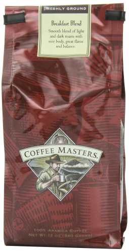 Coffee Masters Gourmet Coffee, Breakfast Blend, Ground, 12-Ounce Bags (Pack of 4)