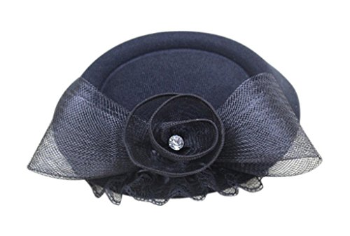Am Clothes Womens Feather Polyester Fascinator On A Clip Headband Black