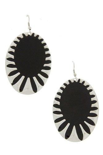 Karmas Canvas Oval Hammered Edges Dangle Earrings (Black) front-199895