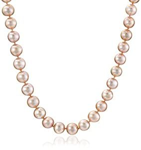 AuraPearl 14k White Gold 8-9mm Rose Freshwater Cultured AA Quality Pearl Necklace, 16""