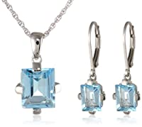 "Sterling Silver Blue Topaz Rectangular Lever Back Earrings and Pendant Necklace Set, 18"" by Amazon Curated Collection"