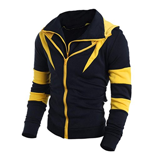 Perman Men Sweatshirt Long Sleeve Hoodie Tops Outwear (M, Yellow)