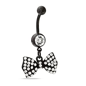 Black Bow Dangle Belly Ring With Stones Belly Button Ring, Belly Ring Bow 316L Surgical Steel 14 Guage + 1 Free Belly Retainer