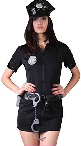 Sexy Police Uniform Traffic Cop Halloween Costume Fancy Dress Outfit (M)