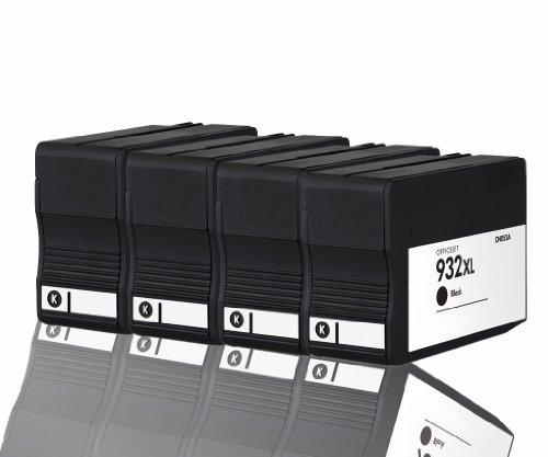 Premium 4er Pack Tintenpatronen für HP 932XL 932 XL CN053AE , CN 053AE HP Hewlett Packard Officejet 6100 6600 6700 kompatibel (Schwarz/Black)