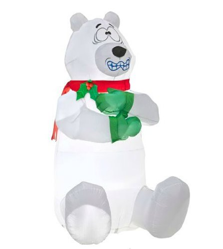 5 tall airblown shivering polar bear christmas inflatable for Animated polar bear christmas decoration