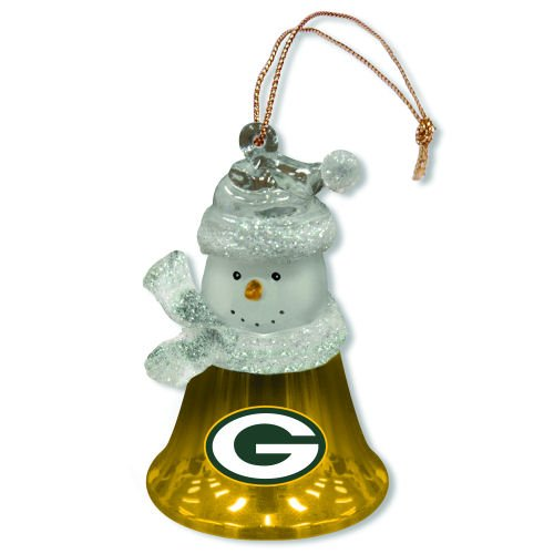 Quot nfl green bay packers snowman bell christmas ornament