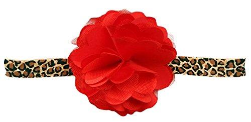PinkXenia red and leopard print infant newborn lace/Satin/Tulle Flower Puff Bows girls newborn baby Soft Headband