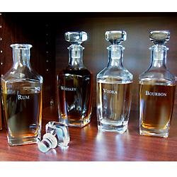 Liquor Decanters - Four Glass Bottle Set