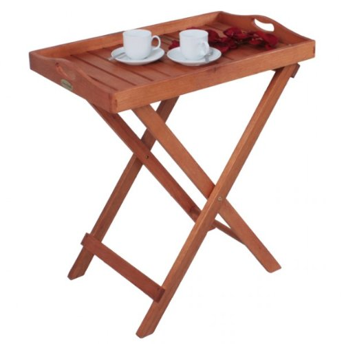 Tablett Tabletttisch Hartholz Servierwagen Eukalyptus Holz FSC Gartenmöbel Holz