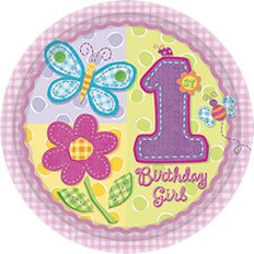 "Amscan Hugs & Stitches 8"" Girl Plates - 8 ct"