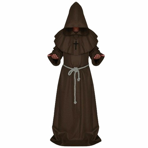 [Queenmore Men's Halloween Christmas Party Costume For The Medieval Monks Robe (M, Brown)] (Brown Monk Robe Costume)