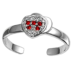 Sterling Silver Fashion Toe Ring - Heart wtih Ruby CZ - 2mm Band Width