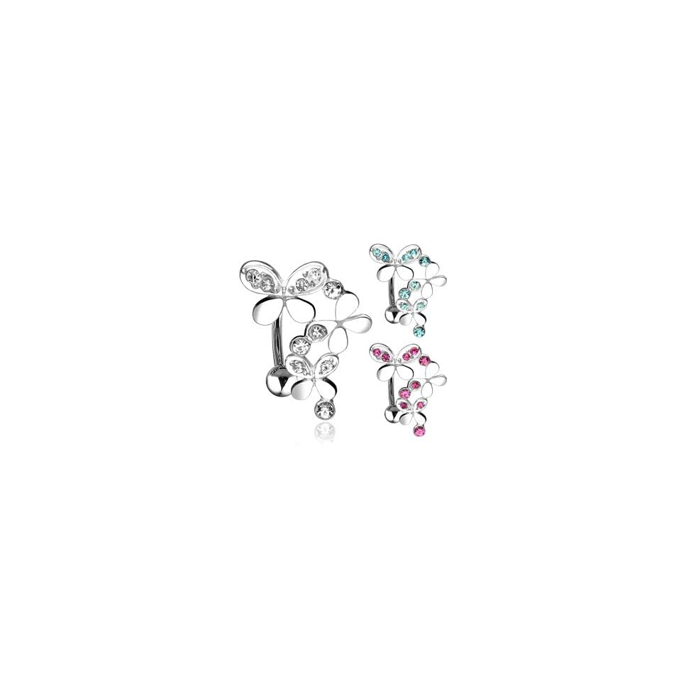 316L Surgical Steel Top Down Belly Ring with Clear Triple Gemmed Butterflies   14G   3/8 Bar Length   Sold Individually