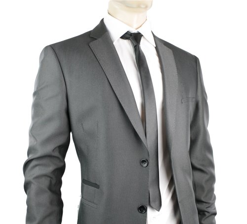 Mens Slim Fit Suit Grey 2 Button Black Trim Office Party or Wedding Suit UK Stock