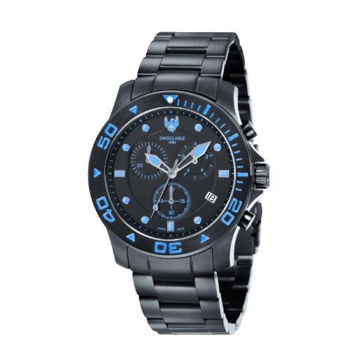 SWISS EAGLE SE 9001 44 - Reloj cronógrafo de cuarzo para hombre con correa de acero inoxidable, color negro
