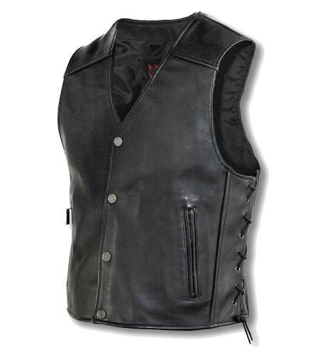 Milwaukee Motorcycle Clothing Company Mens Joker Vest (Black, Large)