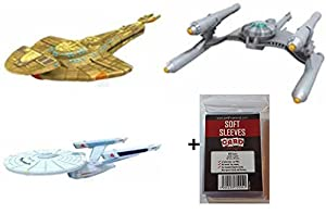 Star Trek Attack Wing Wave 13 - ISS Enterprise - Gorn Starship - Reklar Expansion + 100 Card Concept Soft Sleeves - Miniatures Game English by Star Trek: Attack Wing