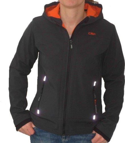 F.LLI Campagnolo Junior Softshell Jacke mit fester Kapuze antracite/orange jetzt kaufen