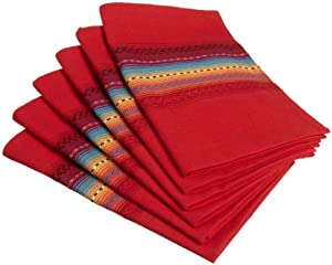 DII Fiesta Sunset Stripe Napkin, Ribbon Red, Set of 6