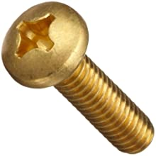 Brass Machine Screw, Plain Finish, Pan Head, Phillips Drive, Right Hand Threads, Inch