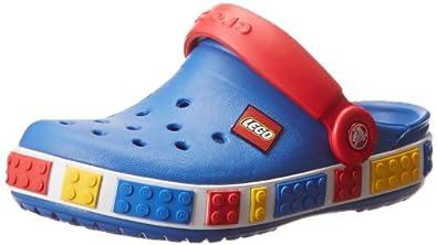 crocs Crocband Kids Lego 12080-446-105, Unisex - Kinder Clogs & Pantoletten, blau (Sea Blue/Red 446), EU 19-21 (UKC4-5)