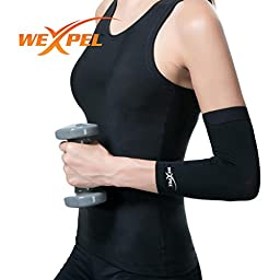 Wexpel (TM) Copper Infused Elbow Compression Sleeve - Relieve and Heal Stiff, Strained, Sore and Aching Arms/Elbow Joints - Small