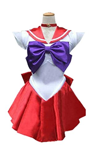 Dillian Womens Sailor Moon Mars Costume Cosplay Party Dress & Gloves,Red,L (Cupcake Fairy Halloween Costume)