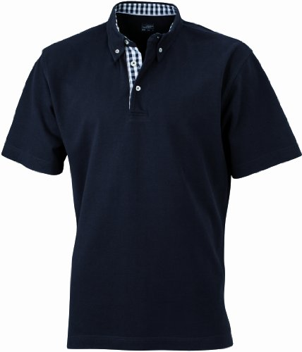 James & Nicholson - Poloshirt Men's Plain, Polo Uomo, Nero (black/black-white), Small (Taglia Produttore: Small)