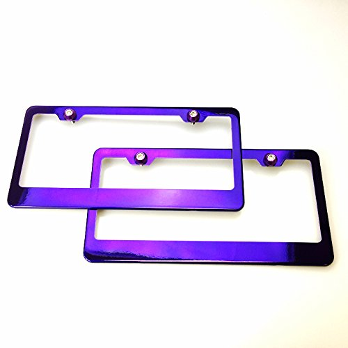 Pair Candy Purple Chrome Powder Coated Stainless Steel License Plate Frame With Aluminum Circle Style Screw Cap (Candy License Plate Frame compare prices)