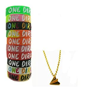 One Direction 10pcs Bracelet Wristband with 1 Pcs Golden Harry Style Airplane Necklace by Molie