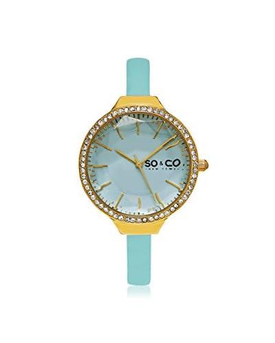 SO&CO Women's 5261.1 SoHo Light Green Leather Watch