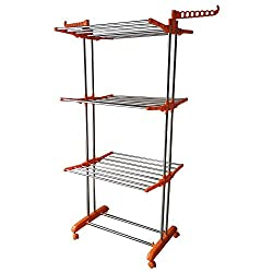 ASP Stainless Steel Cloth Drying Stand 26 Rods 14 Hanger Slots Locking Wheels Random Color