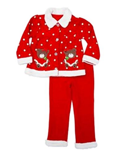 Young Hearts Infant & Toddler Girls Red Christmas Holiday Bear Jacket & Pants