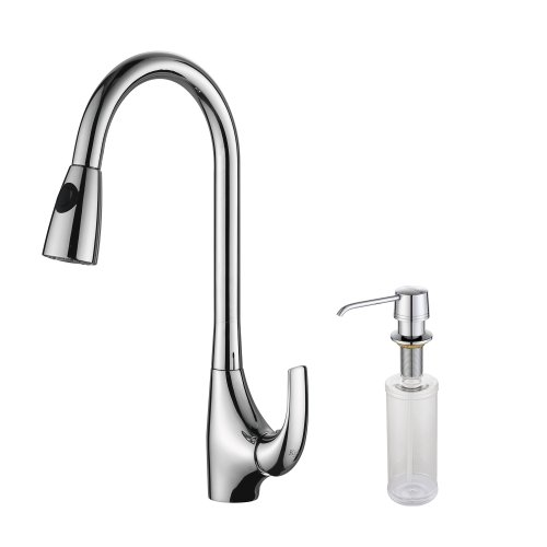 Kraus KPF-1621-KSD-30CH Single Lever Pull Out Kitchen Faucet and Soap Dispenser, Chrome