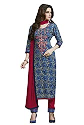 Kvsfab Blue & Red Satin Cotton printed un-stitched dress material