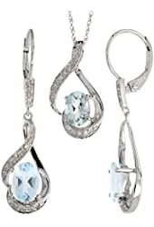 14k White Gold Dangle Earrings (19mm tall) & 18 in. Pendant-Necklace Set, w/ 0.20 Carat Brilliant Cut Diamonds & 3.64 Carats Oval Cut (7x5mm) Aquamarine Stones