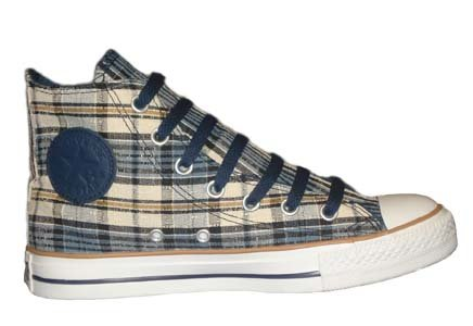 Converse Chuck Taylor All Star Hi Top Navy/Brown/Plaid Canvas Shoes 113994F
