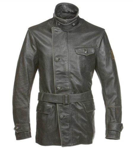 Belstaff Ariel Vintage Men's Leather Motorcycle Jacket, black, extra large